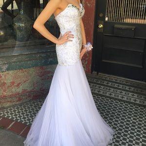 Women s Gold And White Mermaid Prom Dress on Poshmark 706991f01